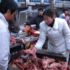Comprando la carne en China