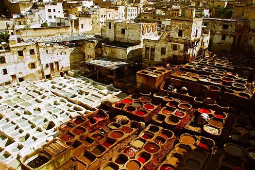 barrio de los tintoreros de Fez